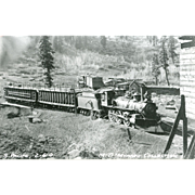 SOUTHERN PACIFIC RR Steam Engine Train Locomotive Photo Maybe in Timber Industry Late 1800's .