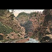 Postcard Colorado RR Train Steam Locomotive on Railroad through Rocky Point, Clear Creek, Cano