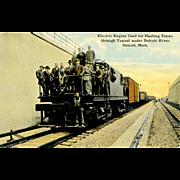 Postcard Electric RR Engine Hauls Trains through Tunnel under Detroit River , Unposted, VG ...