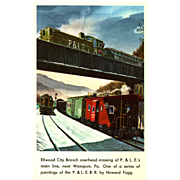 P.&L.E. Line RR Train Post Card from a Painting by Harold Fogg, noted ...