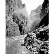 B&W Photo Negative of 1915 Steam Engine RR  Railroad in the Royal Gorge, Grand ...