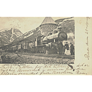 1904 Railroad Post Card RR Engine & Train at Norway Depot VG Condition