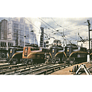 Color Photo PENN RR Railroad Line-up of Electric Locomotives. New York, Sunnyside. Excellent .