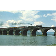 Pennsylvania Railroad Dual RR Steam Engines Crossing Rockville Bridge, 1985, RPPC Unposted, ..