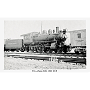 PENN RR Steam Engine #1223 Train Locomotive RPPC. Excellent Post Card Unposted Condition, 5 3