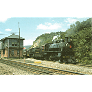 2 PENN RR Steam Engines #7002 & 1223 Train Locomotives at Rockville Tower, PA, 8/23 ...