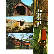FIVE PENNSYLVANIA Covered Bridges Postcards. Unposted,RPPC,one soft focus, others sharp. ...