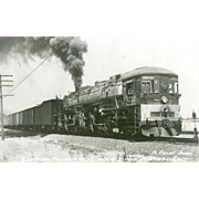 SOUTHERN PACIFIC RR Steam Engine #4232 Railroad Locomotive near Martinez, CA RPPC Unposted ...