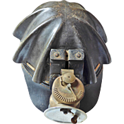 "AMERICAN Leather and Fiber ""Turtleback""  Miners Helmet with Universal Lamp Co.  Foun"