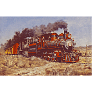 VIRGINIA TRUCKEE RR Train Steam Engine #25 Locomotive as Shown in a Painting by HOWARD ...