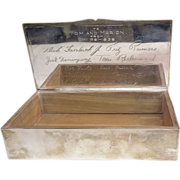 Vintage Wallace sterling silver cigar humidor box signed by Chi Psi fraternal 415 gram