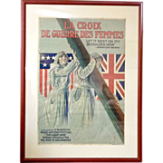 SOLD Rare vintage original world war poster of the Red Cross Nurse by Alpha Litho Company
