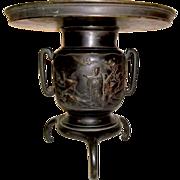 SOLD Japanese Meiji era signed bronze pictorial Ikebana usubata vase 12 Inch