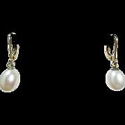 Beautiful vintage tested solid 14k gold 585 genuine pearl earrings
