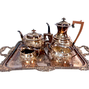 Victorian English stamped silver plated repousse coffee tea set w tray, 5 pieces
