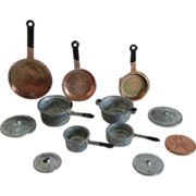 Set of Tiny Miniature Cast Metal Copper Look Fry Pans and Stainless Look Pots with ...