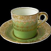 Coalport England Green Gold Demi Demitasse Coffee Tea Cup Saucer Set A D 1750 1891 ...