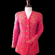LILLIE RUBIN Red Blazer Beaded Dress Jacket Gold Studs Top S M