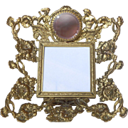 SALE Vintage Ormolu Jeweled Rose Pink Glass Chariot Photo Frame or Dollhouse Miniature