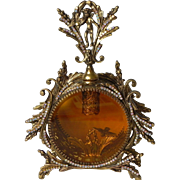 Second AB Jeweled Custom Swarovski Ormolu Cherub Bird Amber Vanity Perfume Bottle 2 of 2 ...