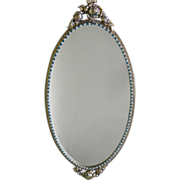 Custom Swarovski Jeweled Ormolu Vanity Perfume Jewelry Mirror Matson Rose Style