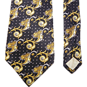 Excellent Gianni Versace Ornate Silk Neck Tie Ornate Baroque Cornucopia Scroll Design Spain