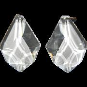 Set/s of 2 Vintage Clear Crystal Beveled Prism Chandelier Candelabra Girandole Sconce Luster .