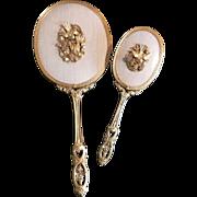 Set Matson Dogwood Bird Ormolu Beveled Glass Hand Mirror and Hair Brush Vintage Vanity