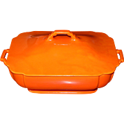 Vintage Fiesta Riviera Original Radioactive Red Covered Casserole 1930-40s Homer Laughlin HLC