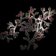 Large Vintage Tole Floral 6 Light Wall Art Sconce Toleware