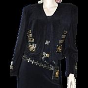 Fabulous Vintage Cache Gold Lion's Head Medallion Studded Black Stretch Jacket sz Large L