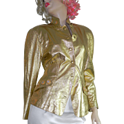 Stunning Vintage Lillie Rubin Jeweled Beaded Gold Lame Leather Jacket size S