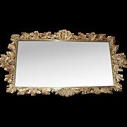 Swarovski Jeweled AB Rhinestone Ormolu Putti Cherub Bird Plateau Footed Perfume Mirror Vanity