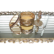 Custom Swarovski Jeweled Vintage 3 pc Set Ornate Ormolu Footed Perfume Mirror Tray Bud Vase ..