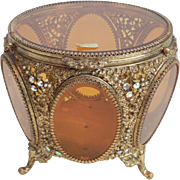 Large Stunning Jeweled Ormolu Amber Glass Jewelry Casket Box Tufted Vitrine Vintage Vanity