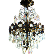 SALE Aurora Borealis Crystal Prism Six Tier Waterfall Chandelier AB