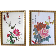 Signed Pair Chinoiserie Faux Bamboo Florentine Frames Wall Art
