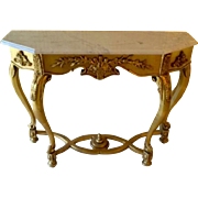 Italian Florentine Gilt Gesso Marble Top Demilune Console Table Italy
