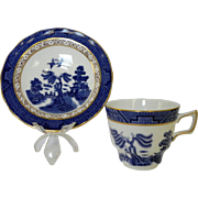 Royal Doulton Booths Real Old Willow 1981 Gilded Cup Saucer Set Chinoiserie