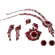 SALE Juliana Ravishing Red Rivoli Parure.  Necklace, Brooch, and Earrings.  Circa 1968.