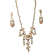 SALE Ornate Designer Signed Roxanne Assoulin Necklace and Earring Set