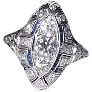 SALE Lady's Diamond and Sapphire Cocktail Ring. Circa 1920