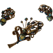 SALE Unique designed HOBE Brooch and matching clip earrings