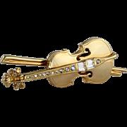 Signed Swarovski Swan Logo Violin or Cello Brooch / Pin