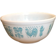 Vintage Pyrex Butterprint Turquoise Farm Print Mixing Bowl
