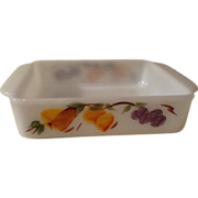 "Fire King Gay Fad Fruit Design 8"" Square Baking Dish"