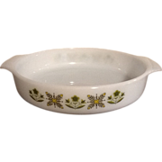 "Fire-King 9"" Round Meadow Green Casserole Dish"