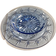 Avon American Blue Classic Glass Plate and Bowl By Fostoria