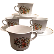 Corelle Indian Summer Cups and Saucers with Creamer