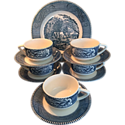 Royal China Currier & Ives set of six Cups and Saucers